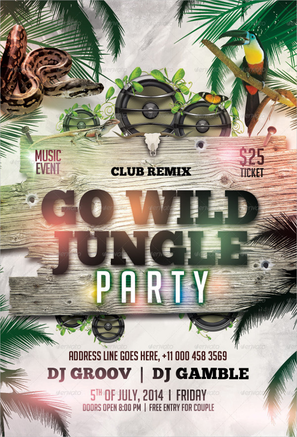 Go Wild Jungle Party Flyer Template