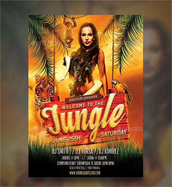 Welcome Jungle Rave Party Flyer Template