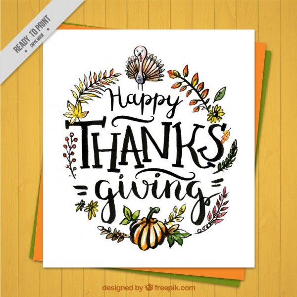 Greeting Card Thanksgiving with Hand Drawn Flowers