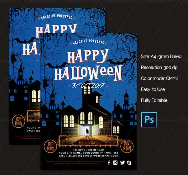 Just As Its Name Suggests This Halloween Party Flyer Created By Us Is Undeniably Attractive And Well Designed It Available In An A4 Size Comes A