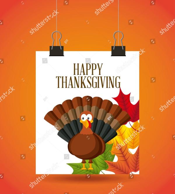Happy Thanksgiving Card with Cartoon Turkey