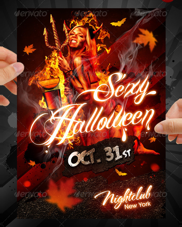 hot halloween party flyer template
