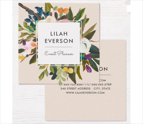 Square Painted Flowers Business Card Template