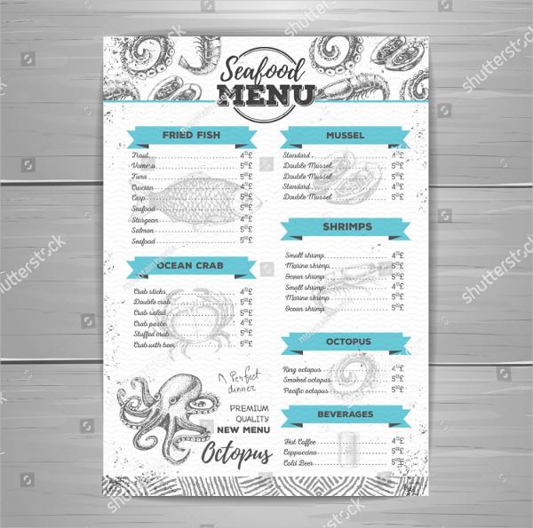 Vintage Design Seafood Menu Template