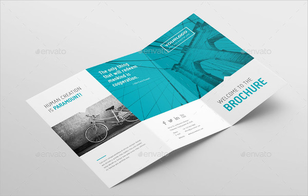 Clean Geometric Tri-Fold Brochure Template