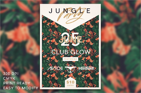Modern Jungle Party Flyer Template