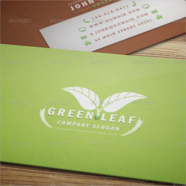 Modern Green Leaf Business Card Template