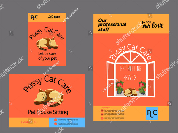 Set of Pet Care Advertising Templates