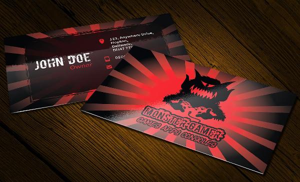 Monster Gamer Business Card and Logo