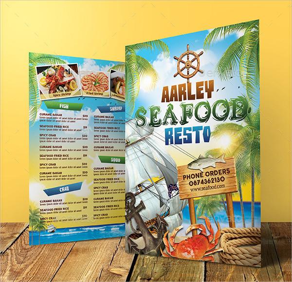 Attractive Seafood Cafe Menu Template