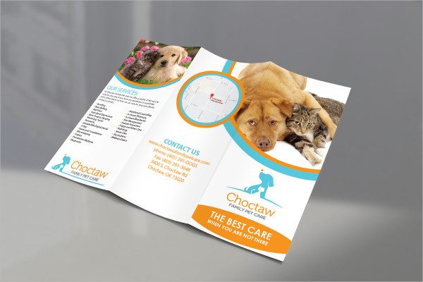 Tri Fold Brochure Design for Pet Care Company