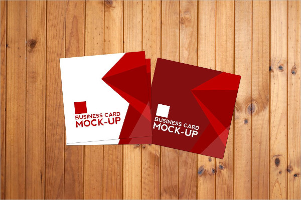 Realistic Square Business Card Mockup Set