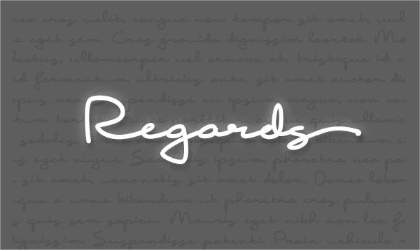 Regards Handwritten Font