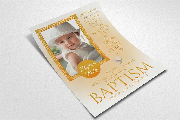 Retro Baby Baptism Flyers Templates
