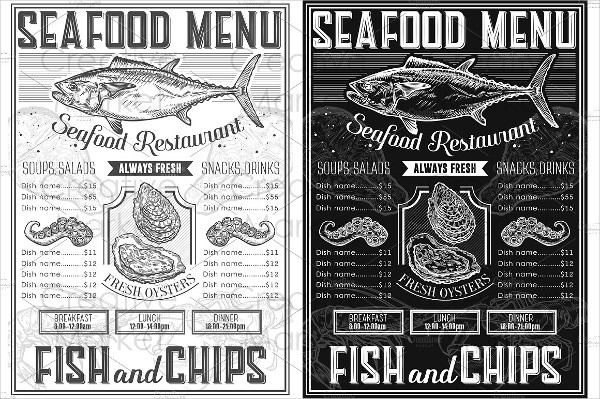 Seafood Retro Menu Templates
