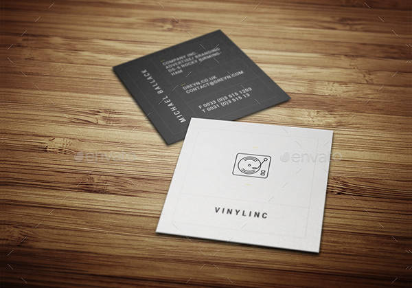 Simple Retro Business Card in Square Design