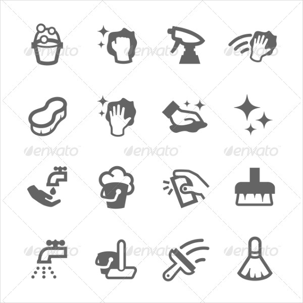 Simple Set of Cleaning Related Vector Icons