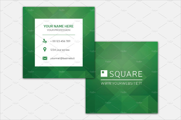 Square Green Business Card Template