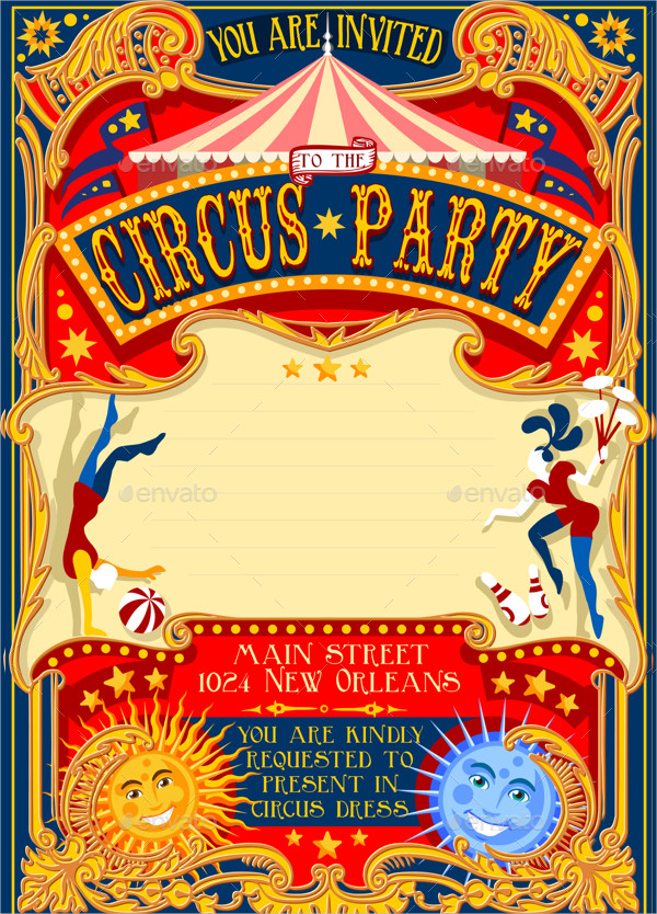 Stylish Circus Invitation Poster Template