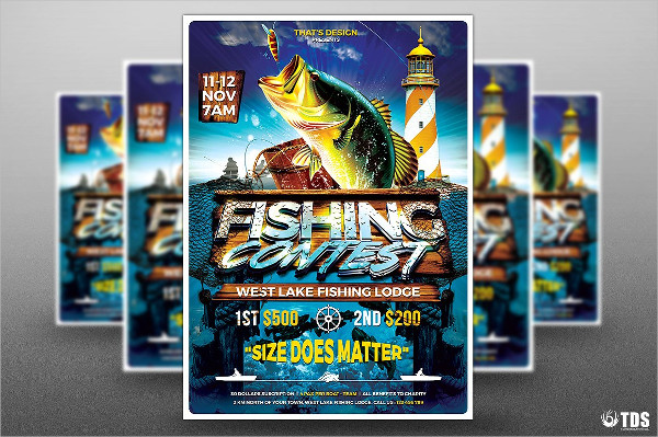 Designed Fish Catching Flyer Template