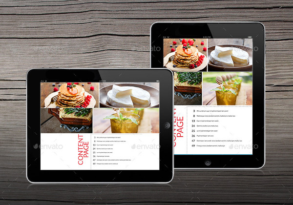 Tablet Food Magazine Design