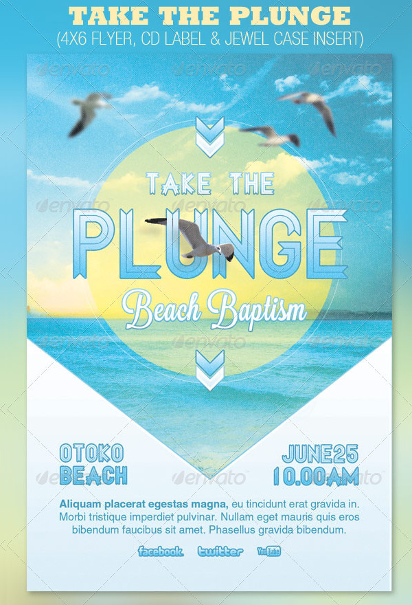 Take the Plunge Baptism Flyer and CD Template
