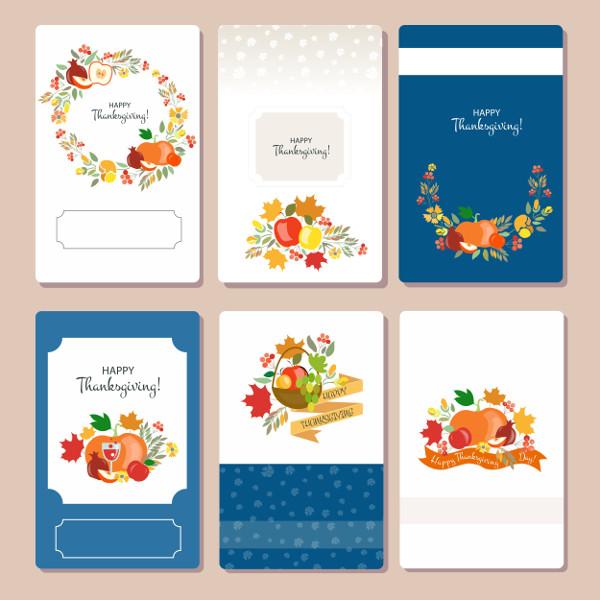 Vector Thanksgiving Card Set