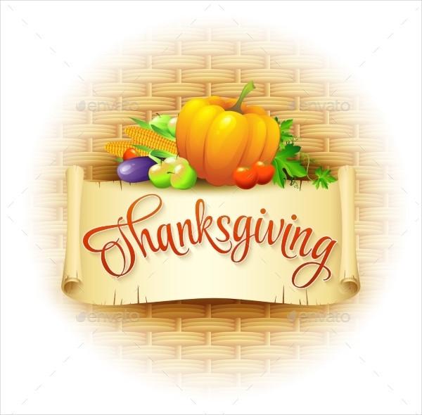 Thanksgiving Card Wicker Basket Background