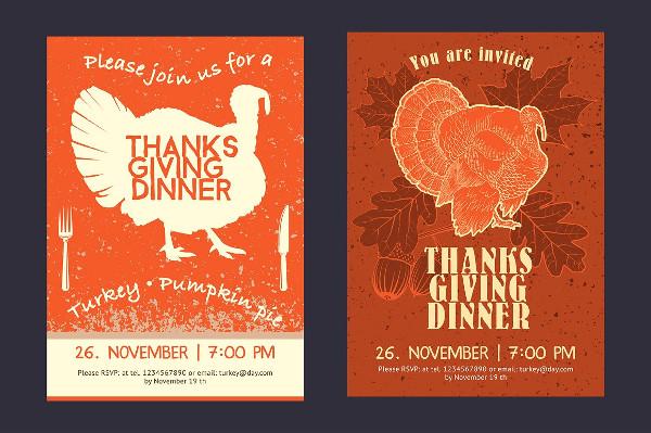Thanksgiving Day Invitation Card Vector Design