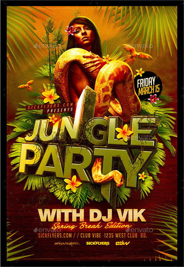 Best Jungle Vacation Party Flyer Template