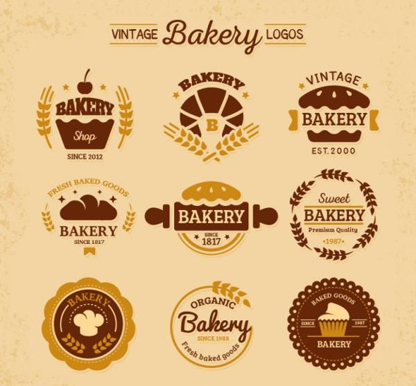 Vintage Flat Bakeries Logo Templates Free
