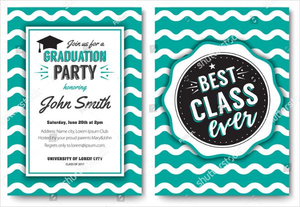 Vector Graduation Invitation Card Template