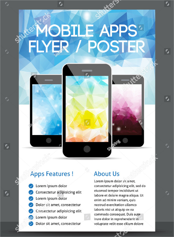Vector Design Mobile Apps Flyer or Poster Template