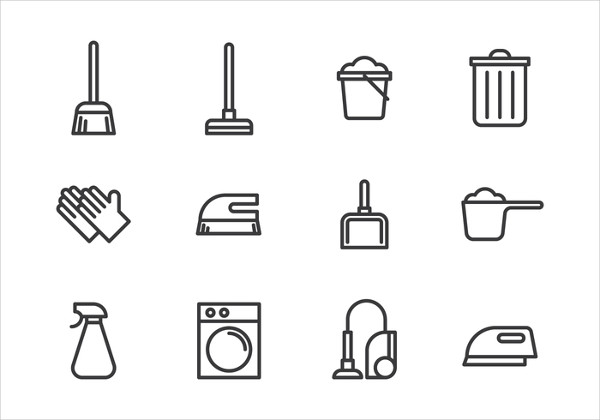 Vector Set of Cleaning Tools Icon