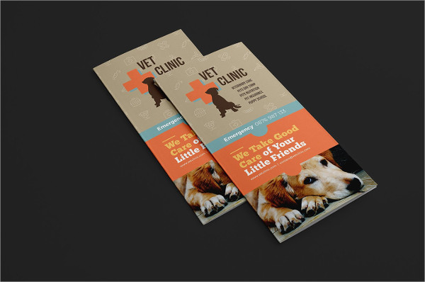 Vet Clinic Trifold Brochure Template
