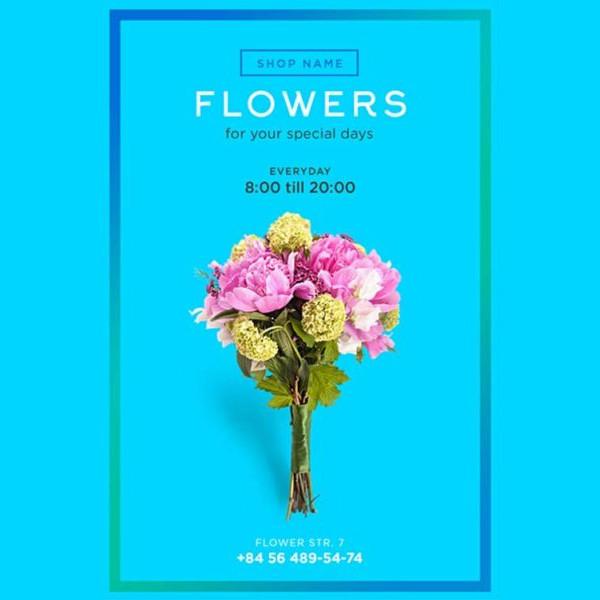 Free Vintage Flower Shop Flyer Template