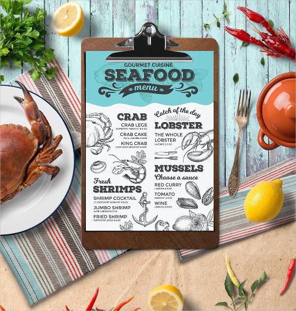 Vintage Seafood Menu Template