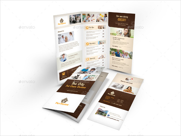 Professional Pet Care Trifold Brochure Template