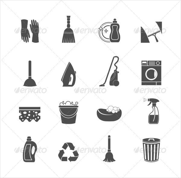 Cleaning & Washing Housework Icons