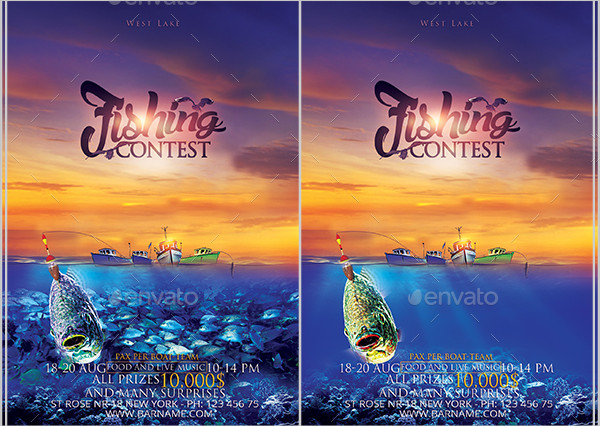 Clean Fishing Contest Flyer Template