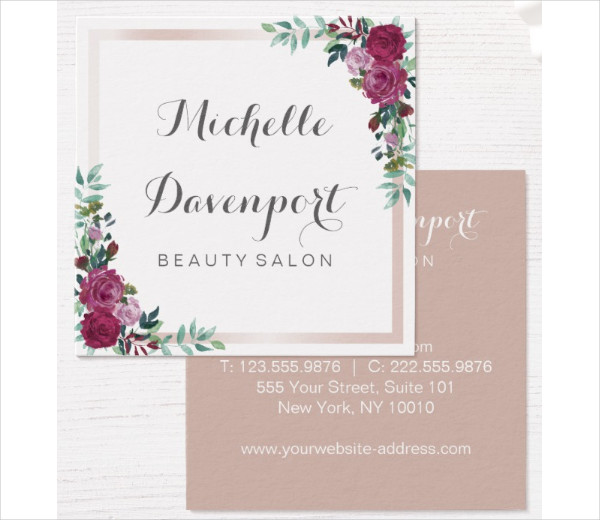 Watercolor Floral Business Card in Square Shape