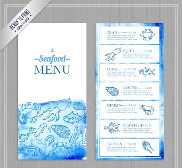 Watercolor Seafood Menu Free Download