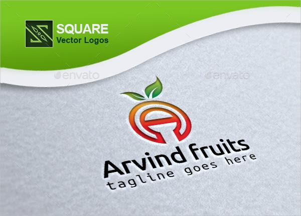 Alphabet Fruit Custom Logo Template