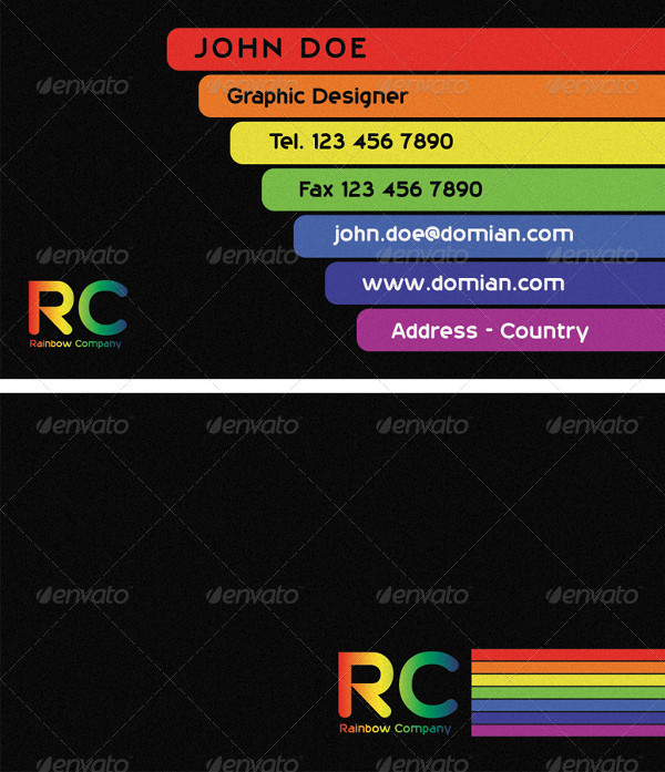 25 rainbow business card templates free premium download printable business card in rainbow style reheart Images
