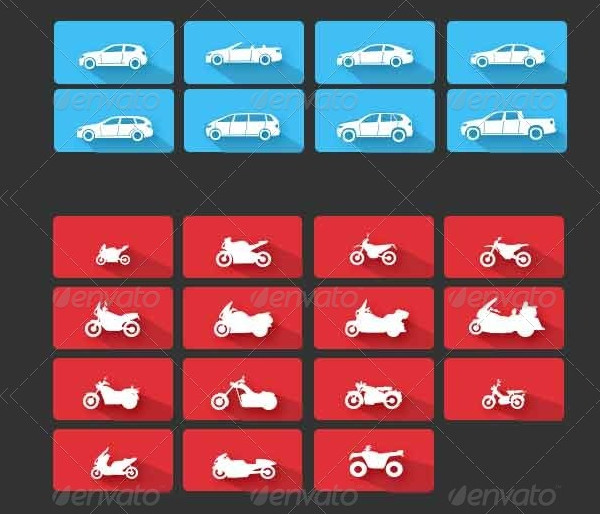 32 Flat Vehicle Icons