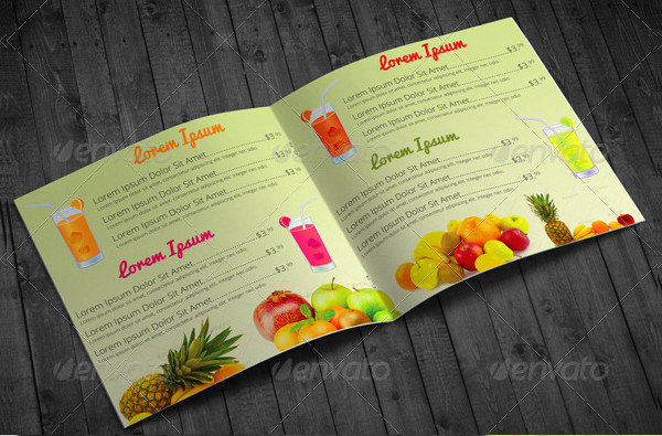 Bi-Fold Square Fruit Juice Menu Template