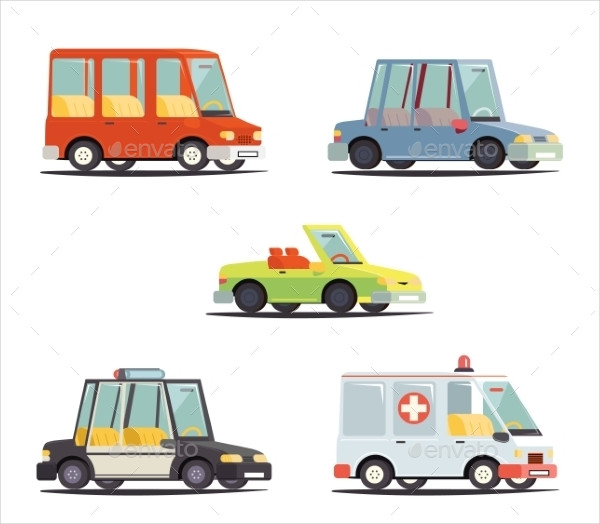 Cartoon Transport Vehicle Icons