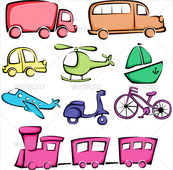 Cartoon Transportation Vehicles Icons