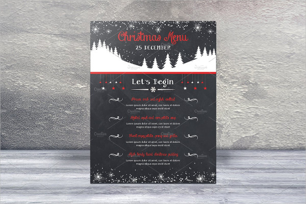Special Holiday Food Menu For Restaurant