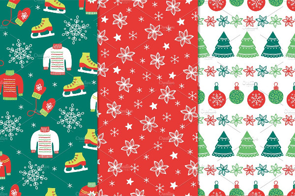 Set of Vector Christmas Seamless Patterns